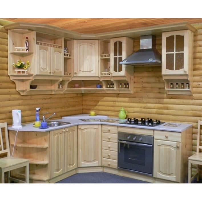 Кухня Гретта из массива сосны, скайда деревянная кухня